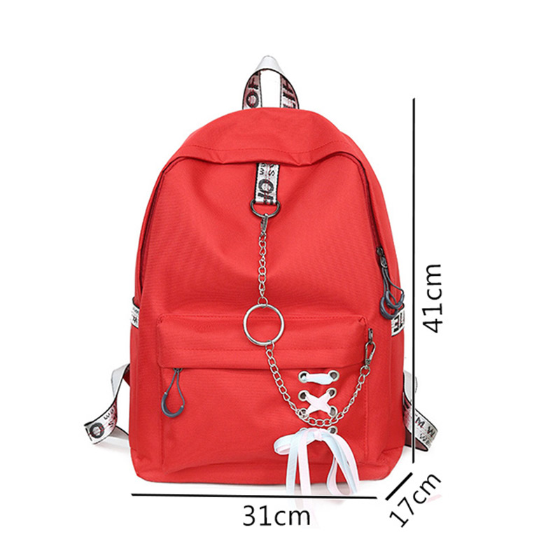 Ribbons Laptop Canvas Backpack Female Metal Buckle School Teenage Girls Student Backpack Schoolbag