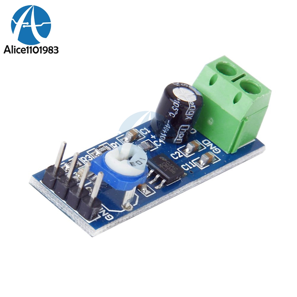 LM386 Audio Amplifier AMP Module 5V-12V 10K Adjustable 200x Gain For