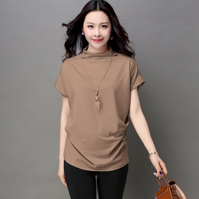 Blusas y Camisas Mujer 2018 Women Summer Fashion Turtleneck Tops Batwing Sleeve Womens Cotton Casual Blouses Loose Ladies Shirts