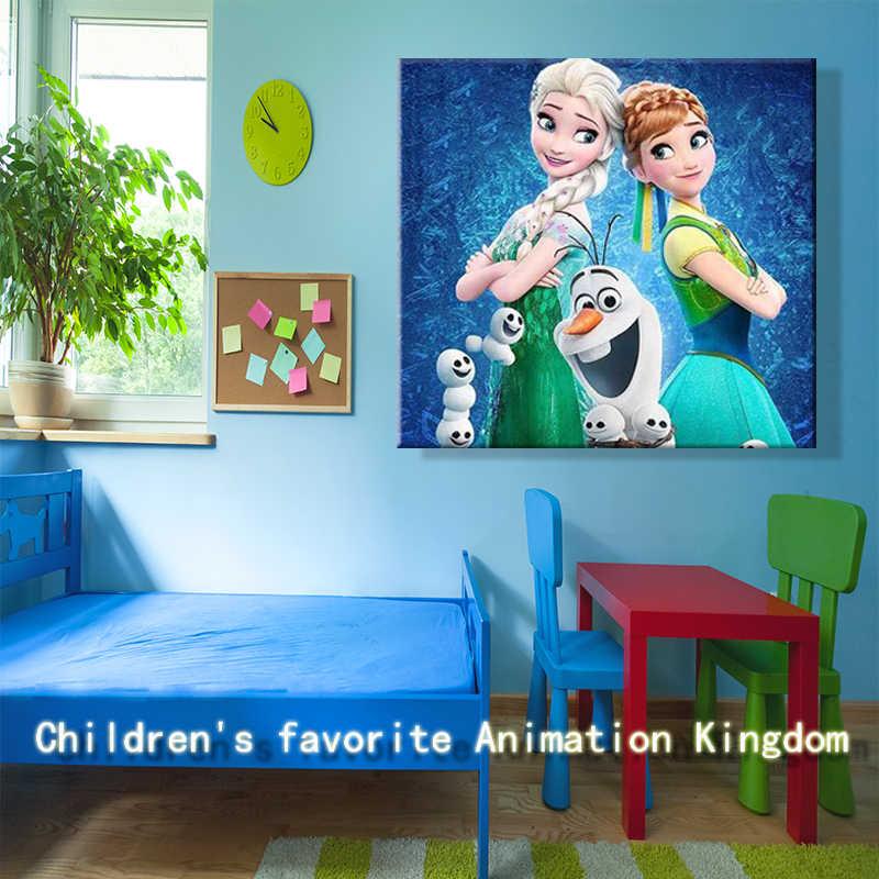 الطلاء بواسطة عدد الفن اللوحة بواسطة أرقام الكرتون المجمدة إلسا الطنين ضوء السنة الأزرق الطفل الأطفال غرفة لوحات دليل