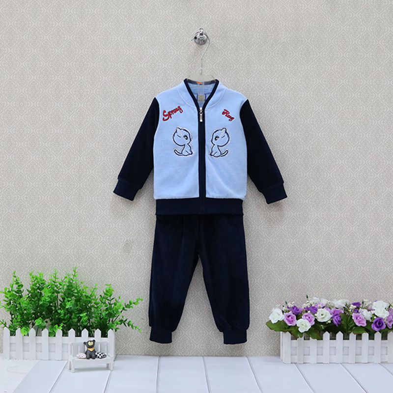 Boys Long Sleeve Velour Jacket+Pants Girls Zipper Clothing Set Spring Fashion 2 pieces/set Clothes Baby Suits