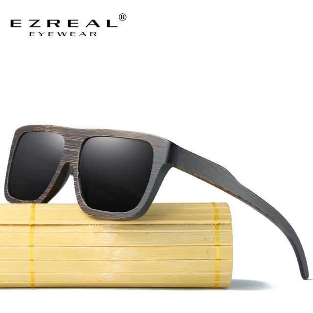 768ed99a290a72 EZREAL Gepolariseerde Hout Zonnebril Retro Bamboe Frame Rijden Zonnebril  Handgemaakte Houten Eyewear Bril Voor Mannen Vrouwen