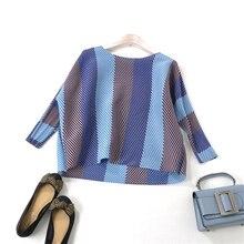 Fashionable Slender Wide Stripe Colour Matching Loose Fold Ladies plus Size Topcoat MIYAKE PLEATS t shirt free shipping