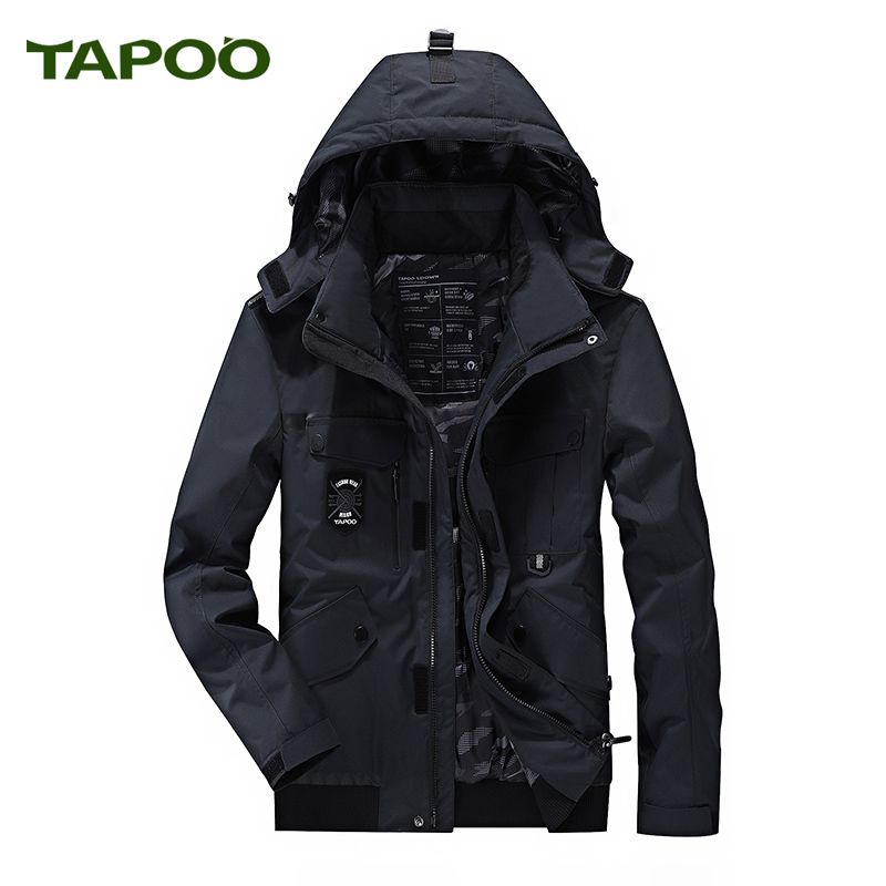 Tapoo Mens Polyester Winter Jackets Thick Casual Outerwear Windproof Handsome Warm Regular Parkas And Coats Hooded 1021