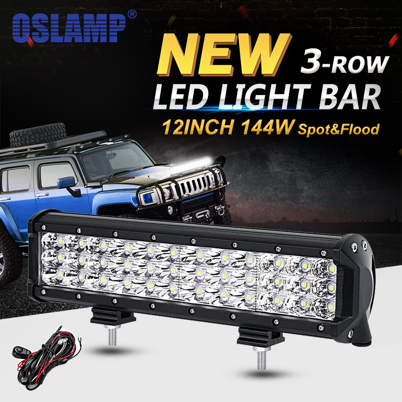 Oslamp 12inch 144W 3 Row Straight LED Light Bar Offroad Combo Beam Led Work Light Truck