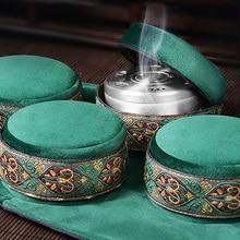 공유 호 녹색 벨벳 가방 무연 뜸 상자 중국어 뜸쑥 스틱 버너 침술 자오선 난방 치료 따뜻한 여성