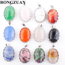 RONGZUAN Lovely Natural Rose Quartzs Turquoises Agates Jaspers Stone Egg Shape Bead Pendant Necklace Chain Women Jewelry TBN376