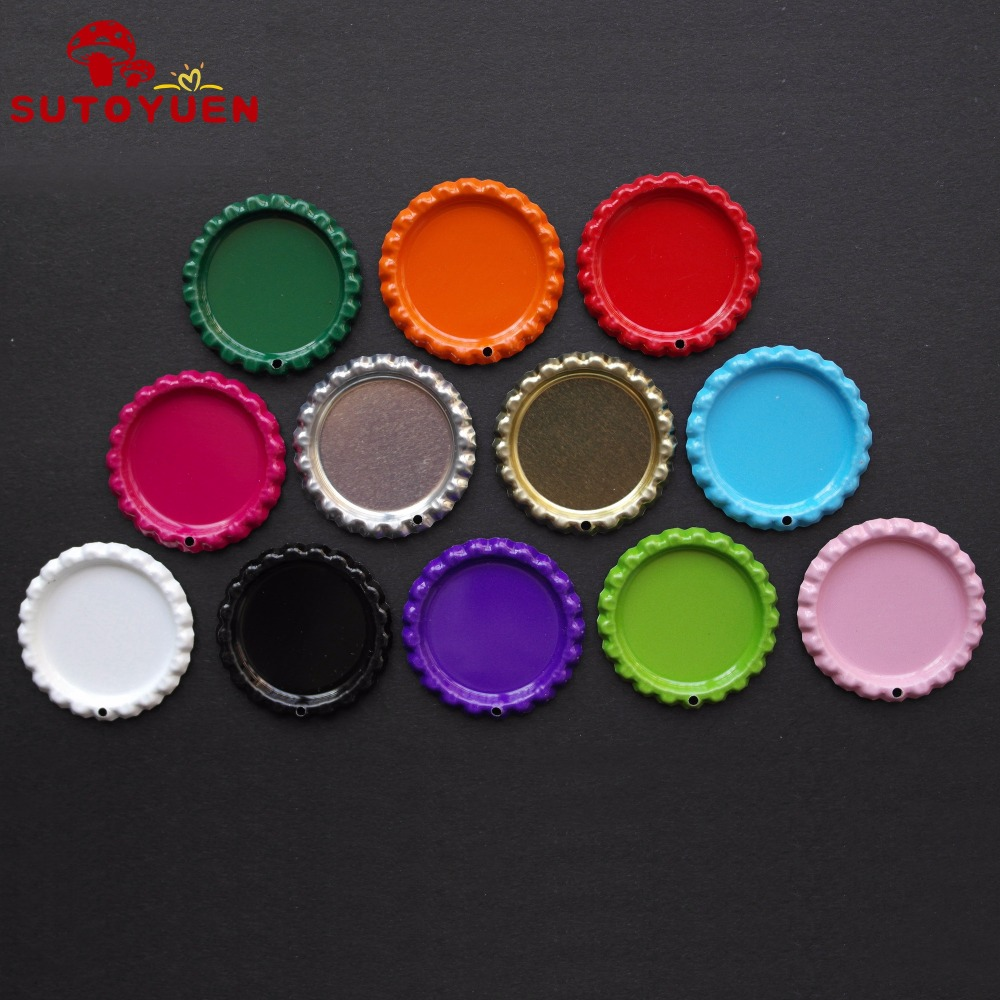200 Pcs Metal Flattened Chrome Bottle Caps With 1.8mm Hole No Jump Rings For Diy Necklace Key Pendant 12 Colors Can Be Choose