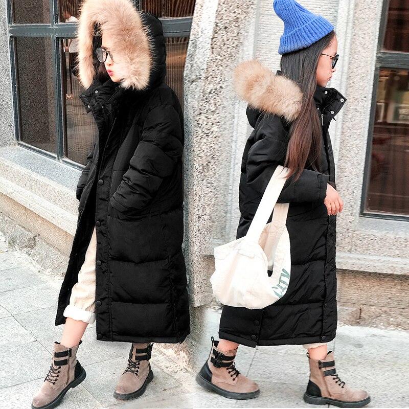 HSSCZL/куртки пуховики на утином пуху для девочек; Новинка 2019 года; зимняя плотная Длинная Верхняя одежда для больших девочек; пальто со съемным капюшоном; одежда для детей; От 7 до 14 лет