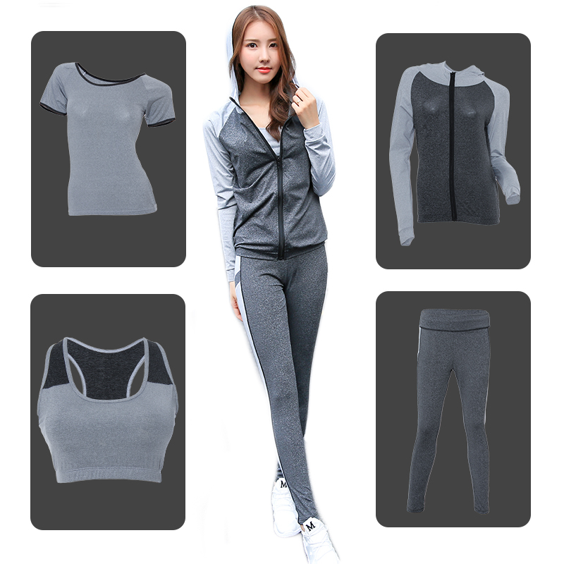 New Yoga Suit Fitness Sportswear Running Exercise Tracksuits For Women Yoga Sets Breathable Jacket+T-Shirt+Bra+Pants Sport Suits