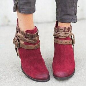 Image 5 - Fanyuan Herfst Winter Vrouwen enkellaars Toevallige Dames schoenen Martin laarzen Suede Lederen Gesp laarzen Hoge hakken rits Sneeuw boot