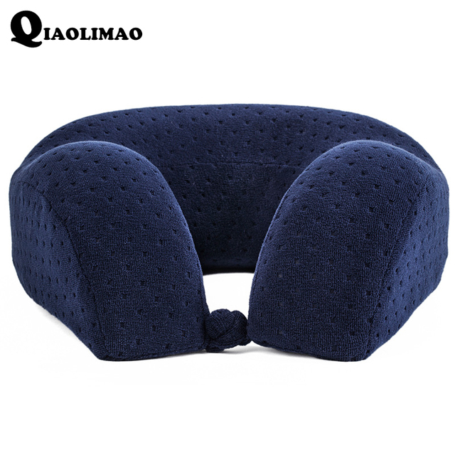 New U Shaped Memory Foam Neck Pillows Soft Slow Rebound Space Travel Pillow Solid Neck Cervical Healthcare Bedding Free Shipping