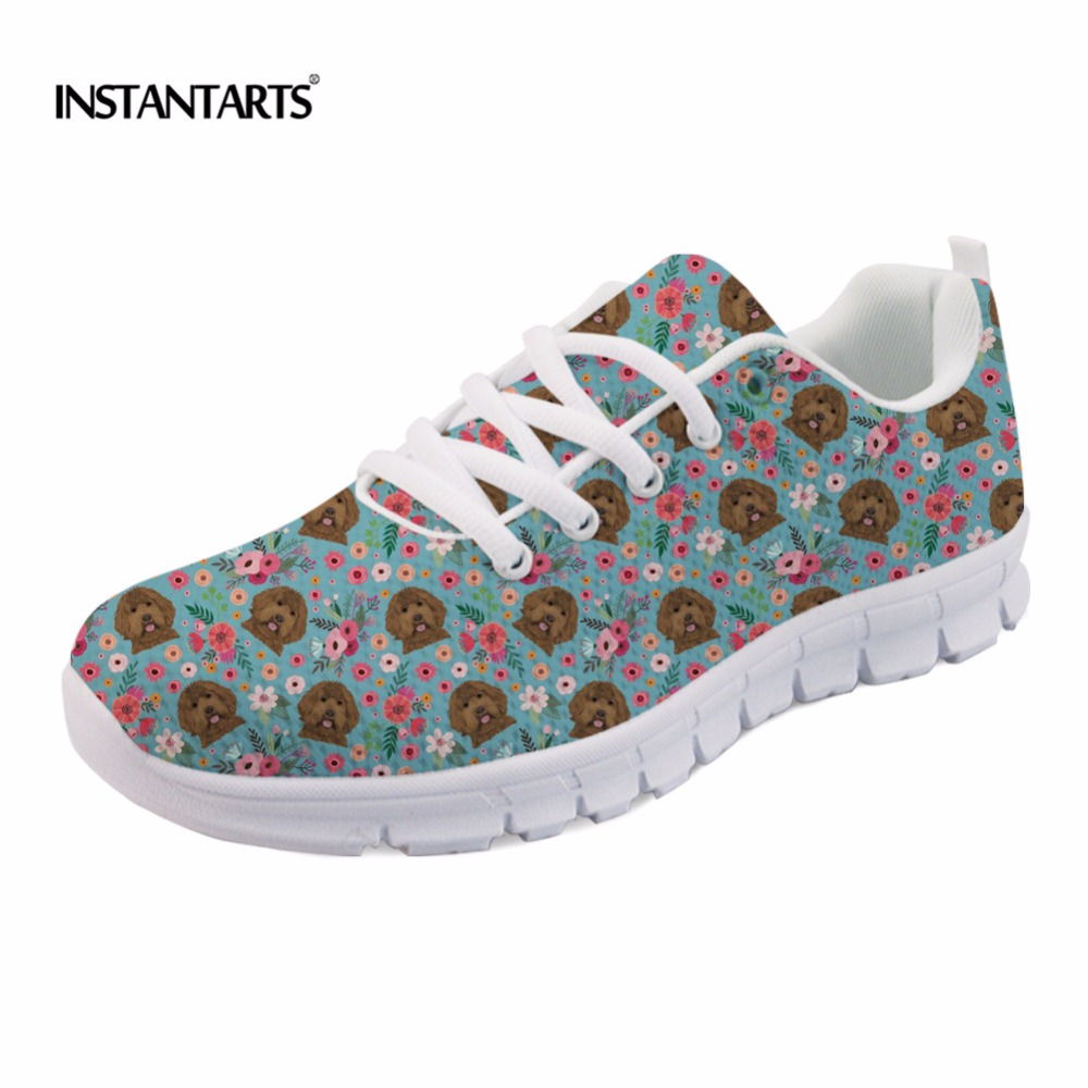 INSTANTARTS Casual Women Flats Shoes Cute Animal Puppy Labradoodle Flower Print Female Mesh Flats Shoes Fashion Spring Sneakers instantarts cute animal husky cat head print women fashion flats shoes air mesh sneakers for ladies lace up light weight shoes
