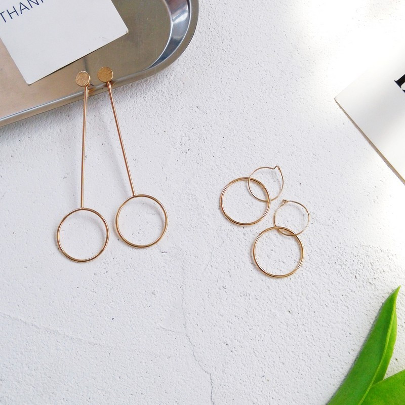Geometric Circle Earrings Long Section Europe and the United States Retro Round Earrings Texture Personalized Tide Female