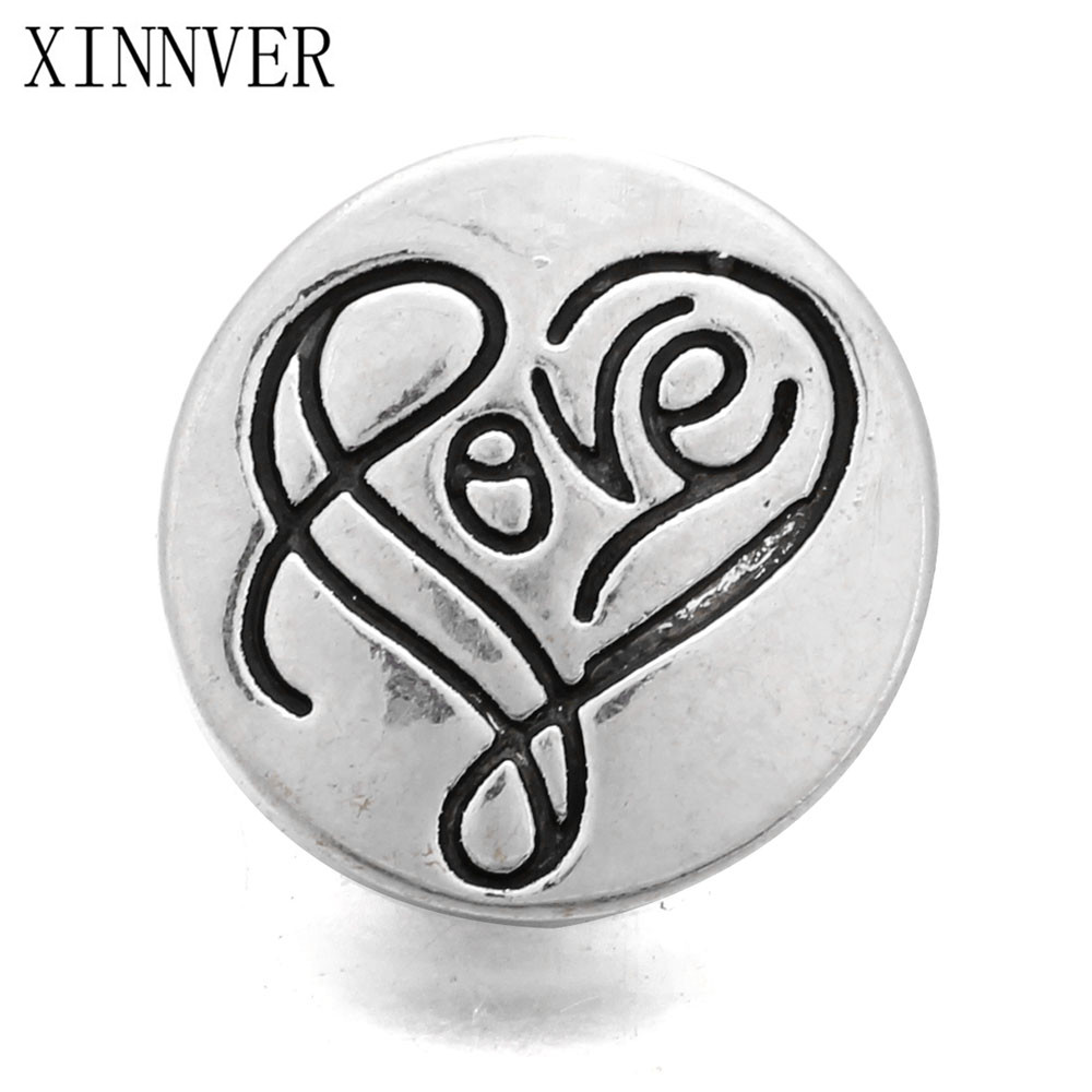 10pcs/lot New Love Pattern 12mm Snap Button Jewelry Metal Snap Fit Snap Bracelet Necklace Jewelry image