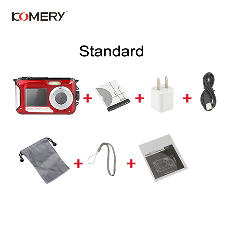 Image 5 - KOMERY WP01 Dual screen Digital Waterproof Camera 1080P 2400W Pixel 16X Digital Zoom HD Self timer Free Shipping 3 Year Warranty-in Consumer Camcorders from Consumer Electronics
