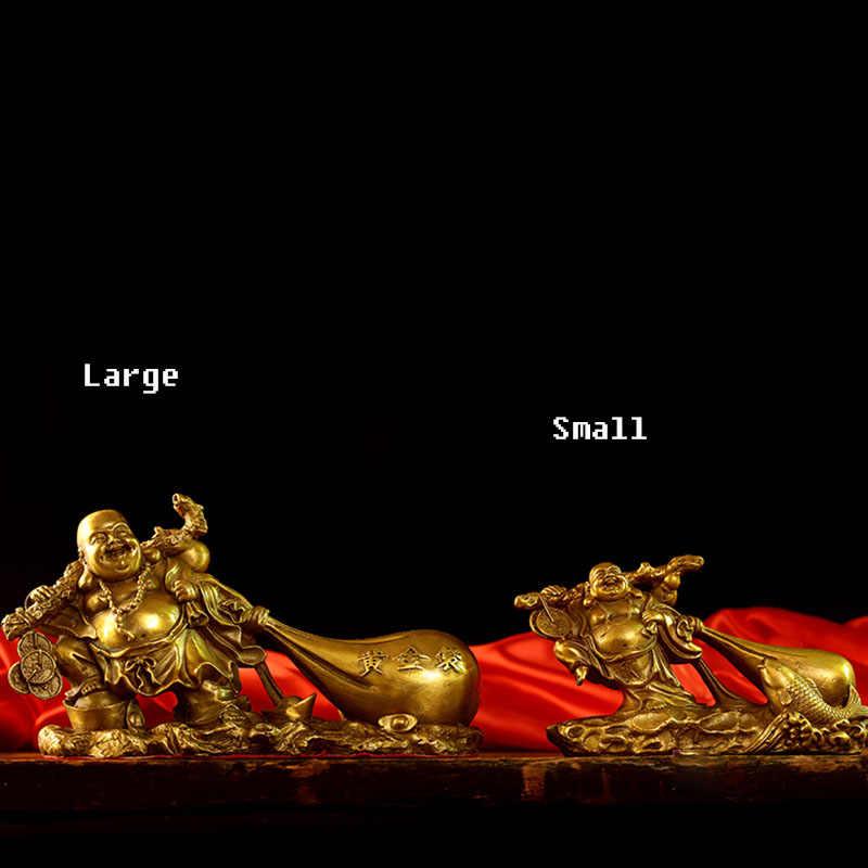 ทองแดงบริสุทธิ์, Maitreya พระพุทธรูปรูปปั้น, Big Belly หัวเราะพระพุทธรูปเครื่องประดับ, ผ้ากระเป๋า Monk, ทอง, lucky, บริษัทเปิดของขวัญ