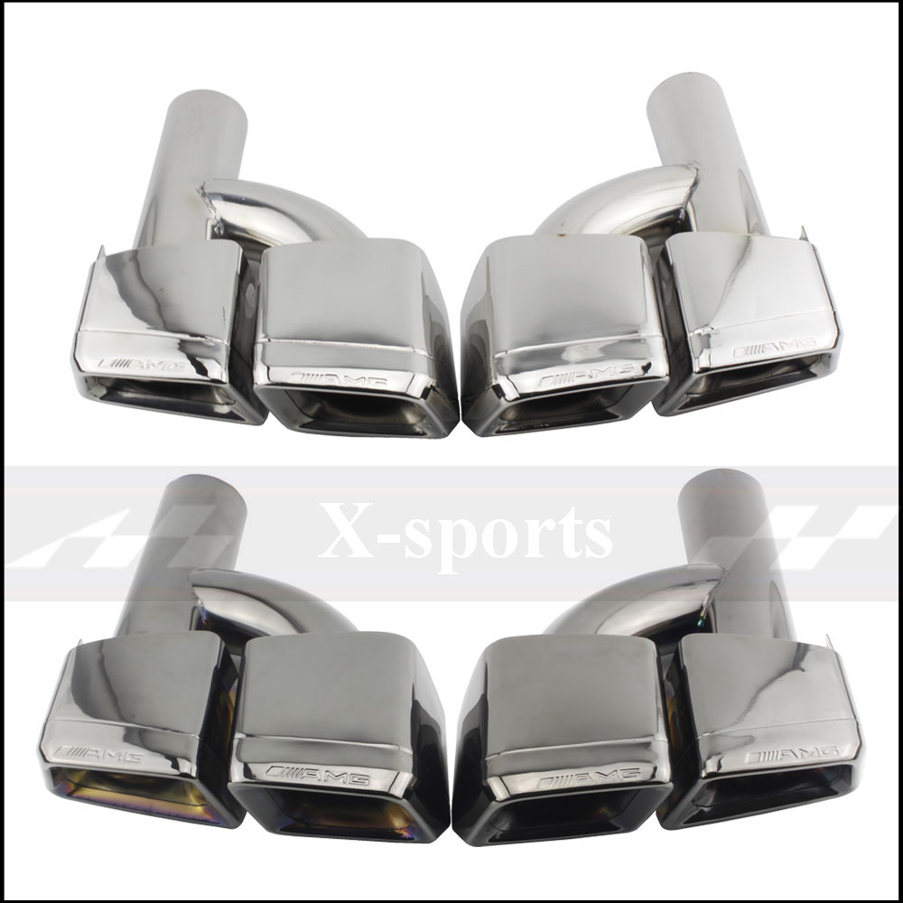 Car Styling Exhaust Pipe Tip Muffler Stainless Steel Trim Tail Throat For Mercedes Benz AMG S65