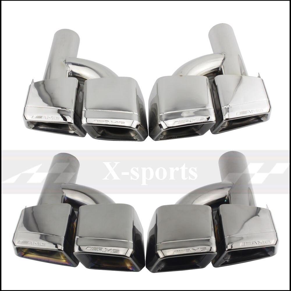 Style de voiture tuyau d'échappement pointe silencieux en acier inoxydable garniture queue gorge pour mercedes-benz AMG S65 S63 E63 W222 W212 W205 R231 W218