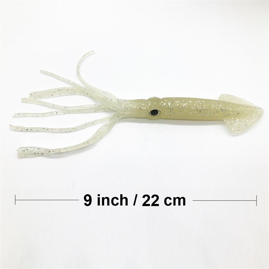 3pcs/set 22cm/9inch brown/luminous soft sea big game fishing big squid octopus bait lure inchiku jigging snapper pesca calamar