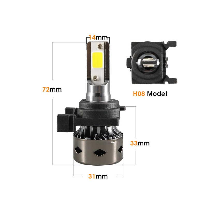 Hlxg 2 pces mini h7 led canbus lâmpadas sem interferência de rádio carro headllight 6000k para ford focus baixo feixe 12 v/24 v farol automático