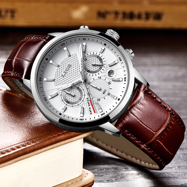 LIGE Men Fashion Sport Quartz Luxury Leather Business Waterproof Watch 3