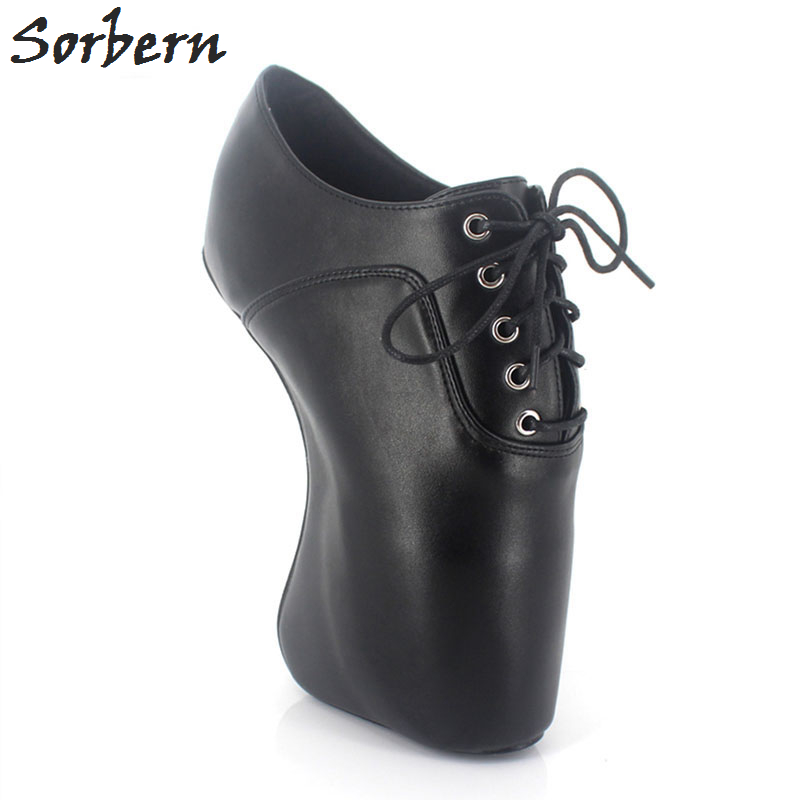 Sorbern Matt Black Women Pumps Lace-Up Cross-Tie Heelless High Heel Ballet Heelless Shoes Ladies Shoes With Heels Big Size 42Sorbern Matt Black Women Pumps Lace-Up Cross-Tie Heelless High Heel Ballet Heelless Shoes Ladies Shoes With Heels Big Size 42