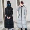 2016 Новые Зимняя Куртка Женщин Вниз Парки Мода Черный Хлопок Проложенный С Капюшоном Толстый Теплый X-долго Женский Пальто