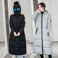2016 New Winter Jacket Women Parkas Fashion Black Cotton Padded Hooded Thick Warm X-Long Female Coat