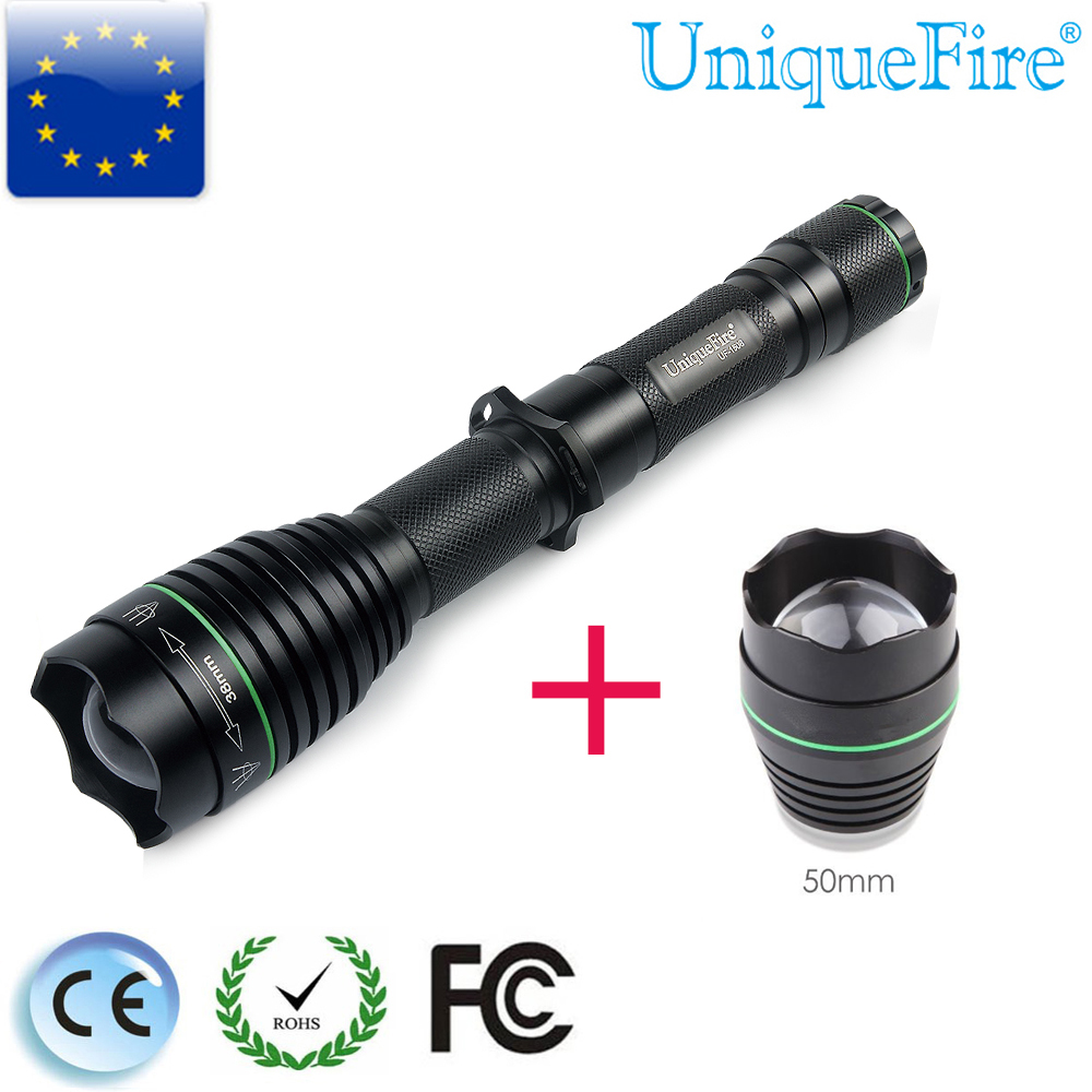 UniqueFire Newest Light 50 Head+1508 Cree XM-L Led Lamp Troch T38 Zoomable Flashlight Recharger 18650 Battery For Riding Hiking uniquefire uf 1200 super bright cree u2 lamp flashlight light from outdoor hiking night fishing hunting led flashlight