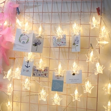 3M 20LED/6M 40LED Star Photo Clips String Fairy Lights Christmas Garland for Hanging Photos Paintings Holiday Wedding Party