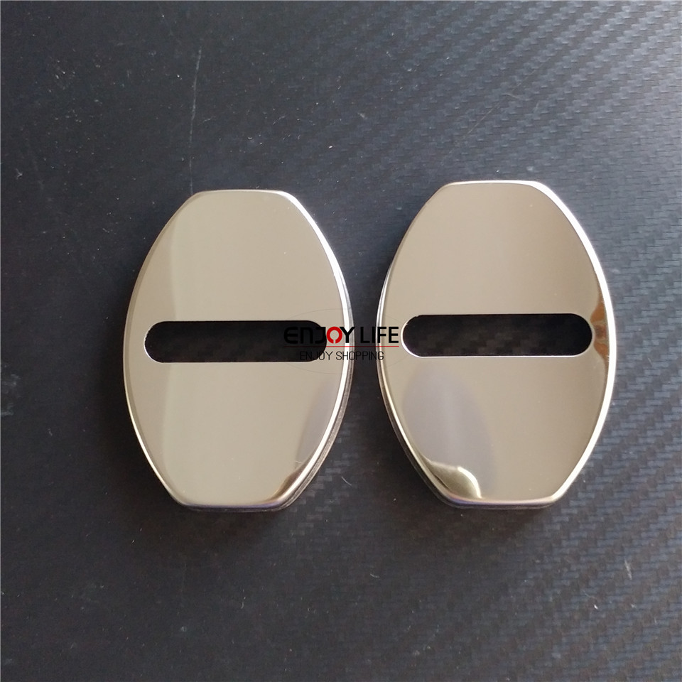 2pcs Stainless Steel Car Door Lock Buckle Cap Cover Sticker For Smart Fortwo W451 2007-2014