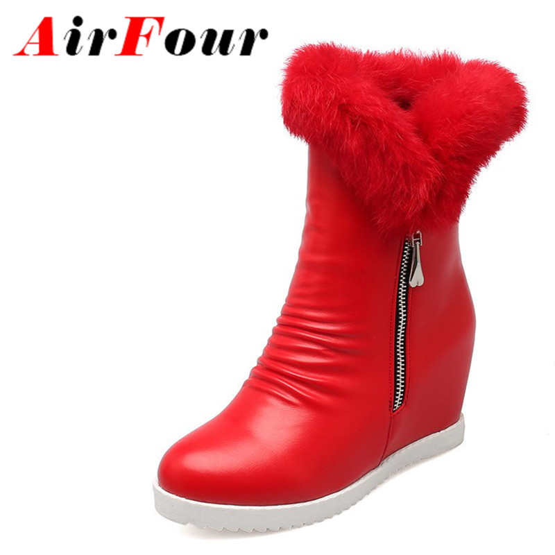 Airfour Mid calf Boots Shoes Woman Winter High Heels Snow Boots White Shoes Large Size 34
