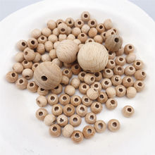 Beech Wooden 8-20mm Round Beads Ecofriendly DIY Craft Jewelry Accessories Nursing Chewing Round Silicone Beads Necklace(China)