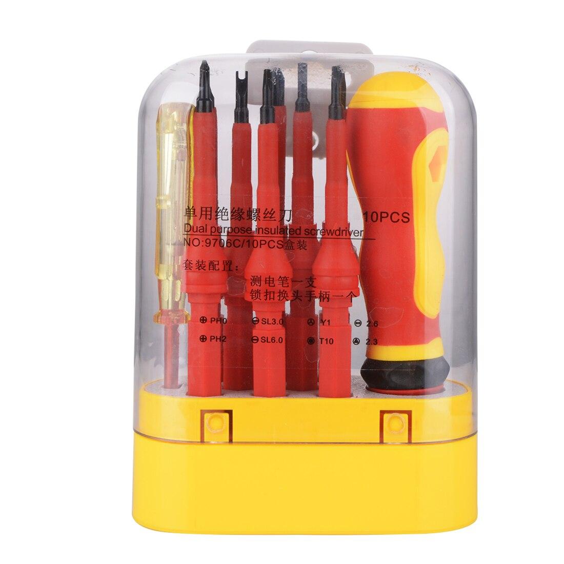 10 In 1 Multifunction Electrician Insulated Screwdriver Set Multi head  Non slip Chrome Vanadium Alloy Screwdrivers Set Tool|Screwdriver| |  - title=