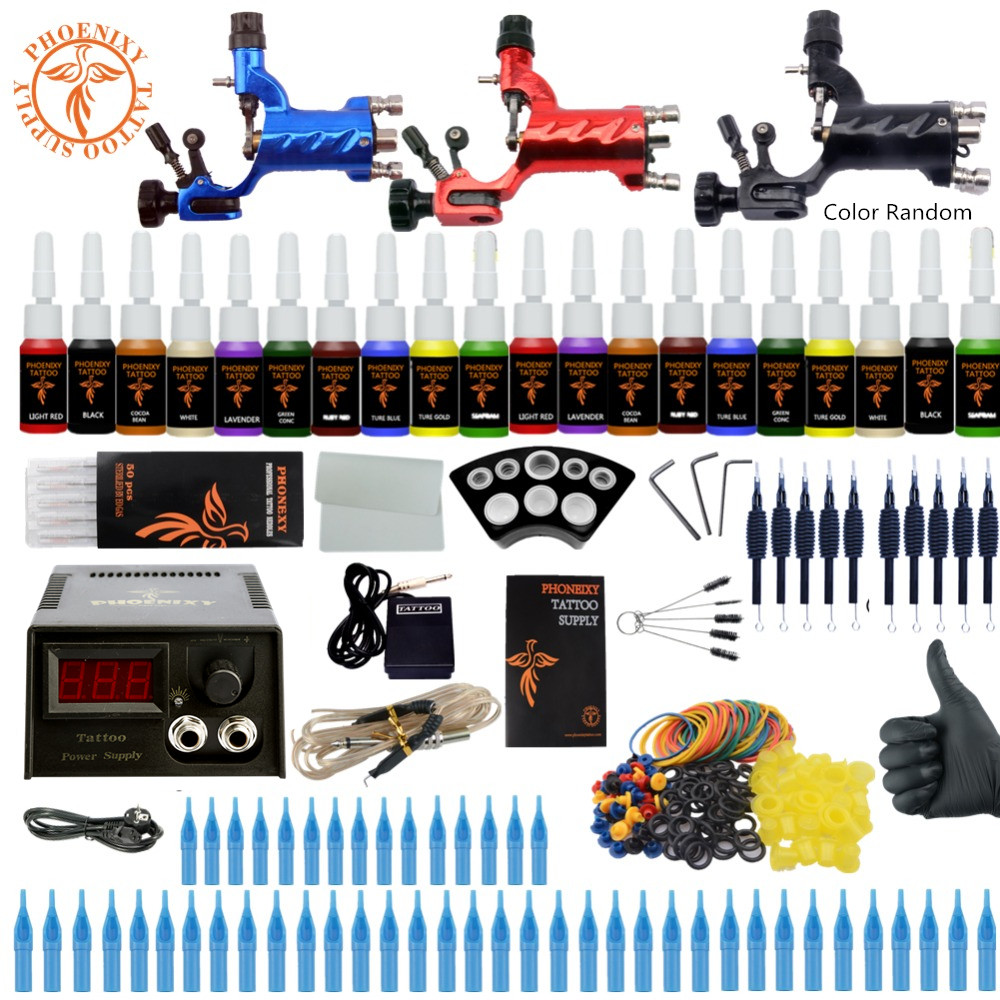 Beginner Starter Complete Tattoo Kit Professional Tattoo Machine Kit 3 Rotary Machine Guns 20 Colors Ink Power Supply Grips Set itatoo tattoo kit cheap beginner coil tattoo machine set kit tattoo ink rotary machine 2 gun liner supply professional tk1000005 page 4