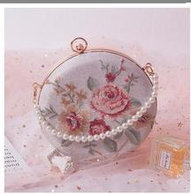 Angelatracy 2019 New Arrival Floral Flower French Style Embroidery Metal Frame Pearl Circular Bag Bags Crossbody Bag цены