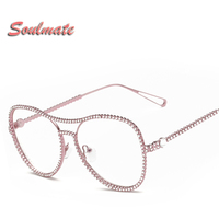 Sunglasses Women Decorative Rhinestone Brand Designer Copper Frame Mirror Lens Double Bridge Sun Glasses 6978