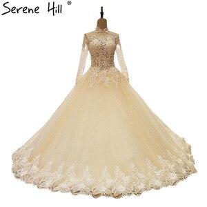 Image 1 - فساتين زفاف مثيرة بالدانتيل 2020 مزينة بالترتر الشامبانيا فساتين زفاف للعروس Vestido De Noiva صورة حقيقية