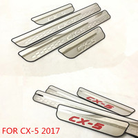 Stainless Steel Door Sill Scuff Plates For Mazda C3 5 2017 Car Styling Letter Carved Car