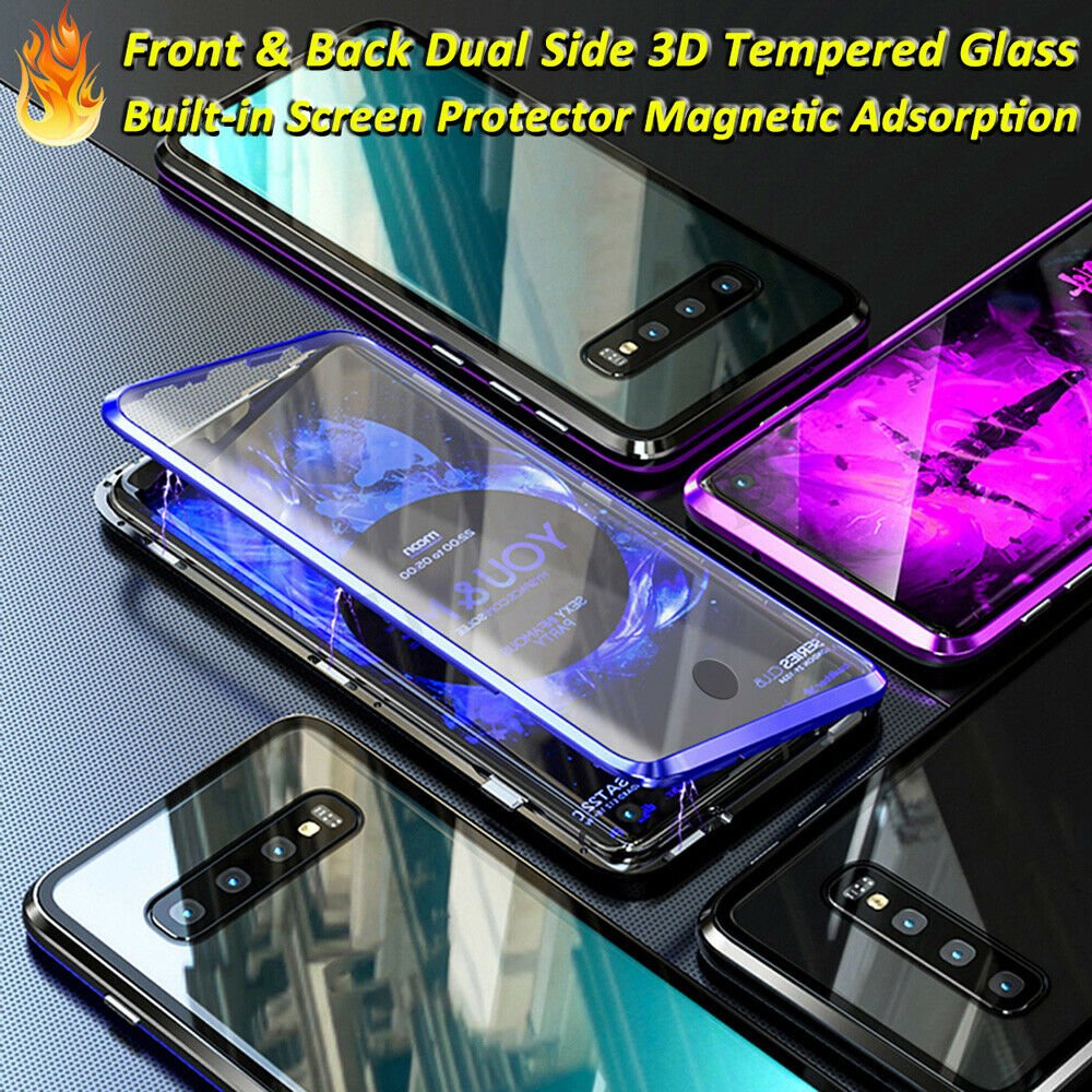 For Samsung Galaxy S10 S9 S8 Plus S10E Note 9 8 360 Degrees Screen Protector Glass Magnet Case