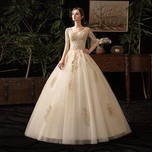 Image 3 - Champagne V Neck Half Sleeve Tassel 2019 New Wedding Dress Lace Applique Custom Made Plus Size Bridal Gown Vestido De Noiva L