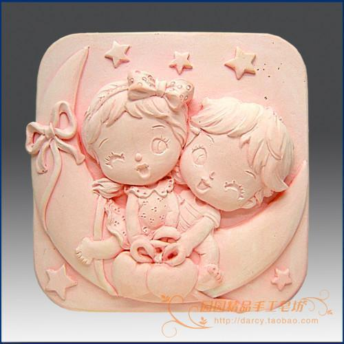 Angels on Moon Silicone Soap mold DIY Carft 3d soap molds S065Angels on Moon Silicone Soap mold DIY Carft 3d soap molds S065