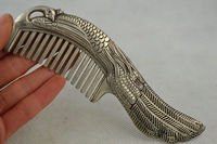 Old Collectibles China tibet silver hand carved peacock rare lucky comb