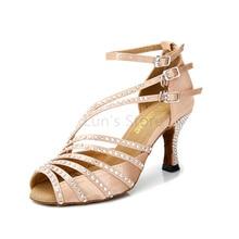 Νέες γυναίκες Μαύρο σατέν Rhinestone Crystal Diamante Λατινική αίθουσα χορού Salsa Ceroc Tango Bachata Mambo παπούτσια χορού Χορού παπούτσια