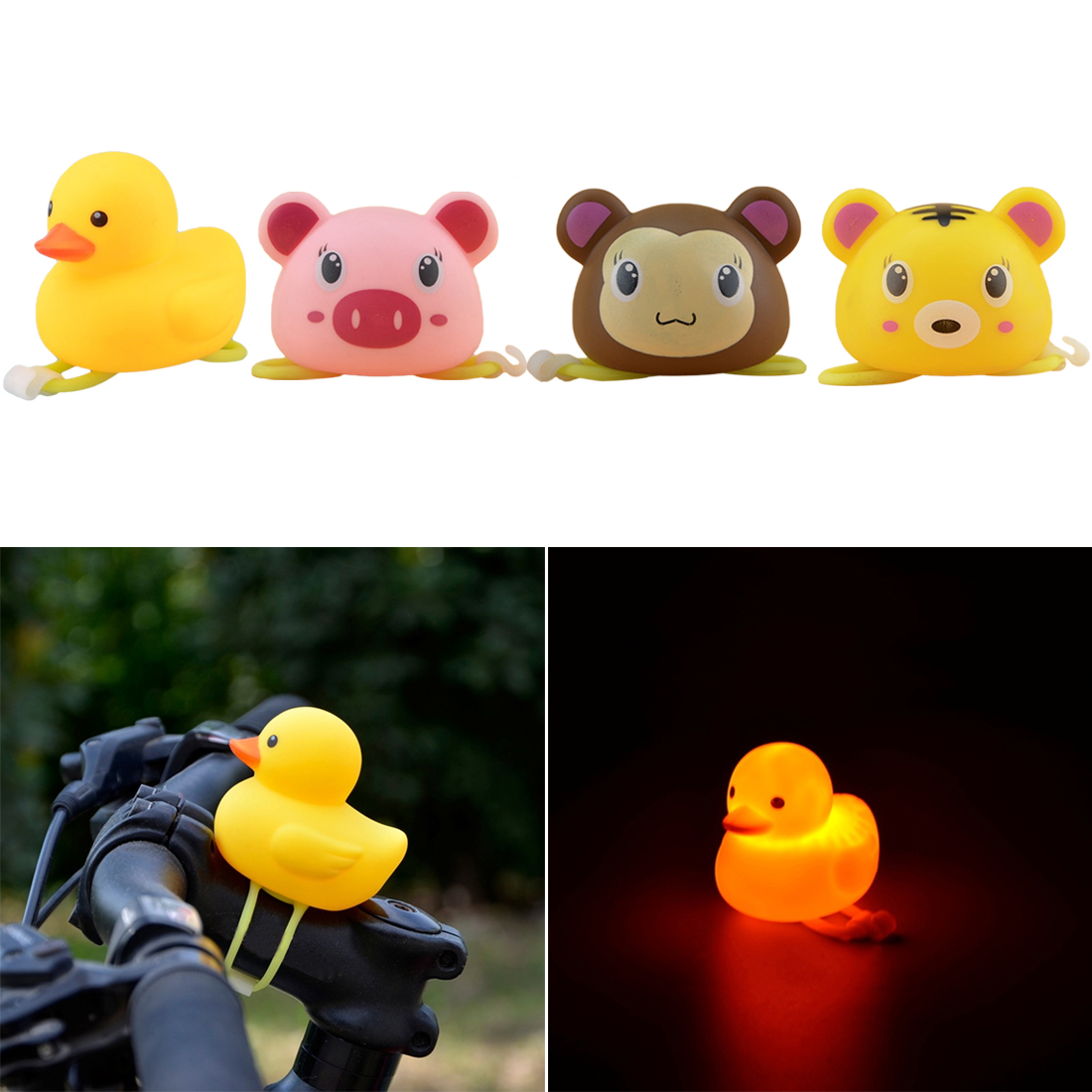 Hot Rubber Kids Bike Bell Light Bike Tricycle Scooter Bicycle Handlebar Air Horn Bells Bicycle Accessories Cute Gift For Kids