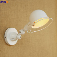 IWHD E14 Industrial White Wall Lamp LED Adjustable Long Swing Arm Fixtures Edison Retro Vintage Iron Wall Light Indoor Fixtures