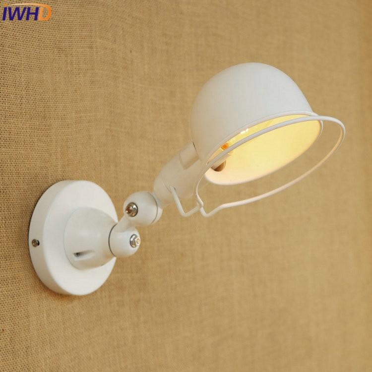 IWHD E14 Industrial White Wall <font><b>Lamp</b></font> <font><b>LED</b></font> Adjustable Long Swing Arm Fixtures <font><b>Edison</b></font> Retro Vintage Iron Wall Light Indoor Fixtures