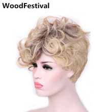 WOODFESTIVAL short wigs for women synthetic wigs curly blonde ombre wig dark roots hair heat resistant wig 30 cm стоимость