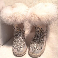 2017 Winter Boots Women Fox Fur Snow Boots Rhinestone Studded Casual Cotton Shoes Fashion Hand Made